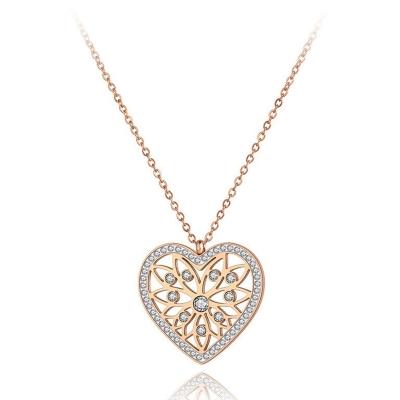 Ocelový náhrdelník Francoa - chirurgická ocel, srdce, zirkon