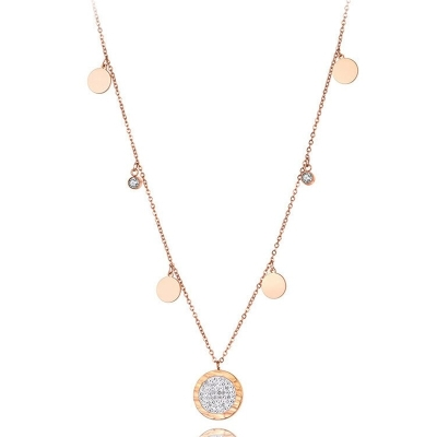 Ocelový náhrdelník Claire Gold - chirurgická ocel, zirkon