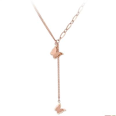 Ocelový náhrdelník Mollie Gold - chirurgická ocel, motýl