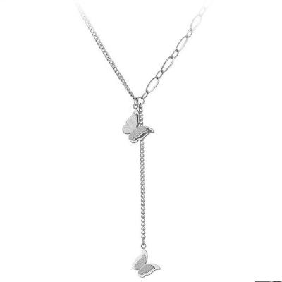 Ocelový náhrdelník Mollie - chirurgická ocel, motýl