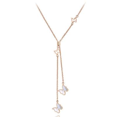 Ocelový náhrdelník Amelia Gold - chirurgická ocel, motýl