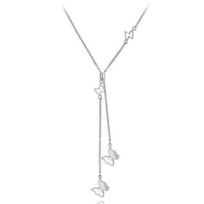 Ocelový náhrdelník Amelia - chirurgická ocel, motýl