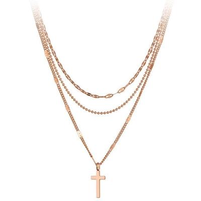 Trojitý ocelový náhrdelník Jenny - chirurgická ocel, kříž