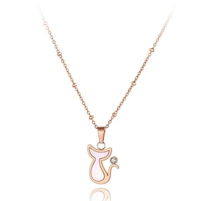 Ocelový náhrdelník Heather - chirurgická ocel, kočka, zirkon