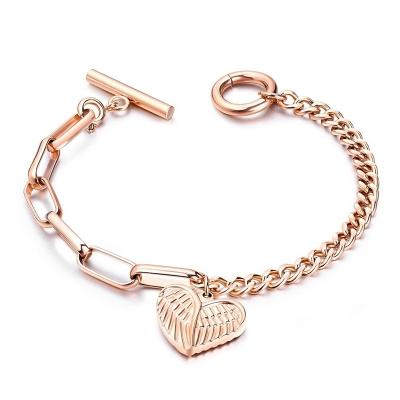 Ocelový náramek  Andělská křídla Gold - srdce, chirurgická ocel