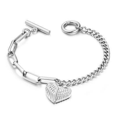 Ocelový náramek  Andělská křídla - srdce, chirurgická ocel