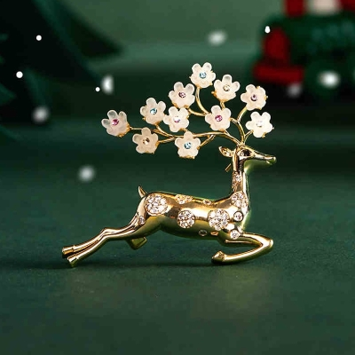 Vánoční brož Swarovski Elements Christmas Deer - vánoční jelen