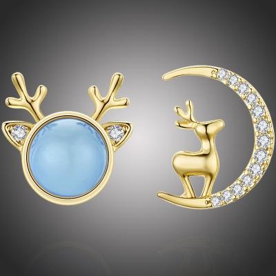 Vánoční náušnice se zirkony a opálem Rudolph Blue