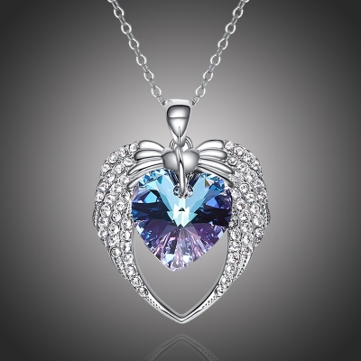 Exkluzivní náhrdelník Swarovski Elements Angel Wings Violet - srdce