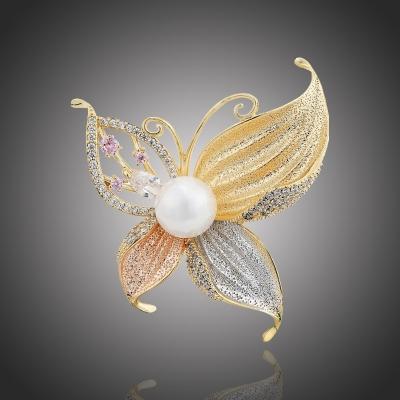 Exkluzivní brož s perlou a zirkony Paige - motýl