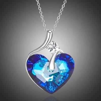Exkluzivní náhrdelník Swarovski Elements Lily Blue - srdce