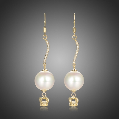 Náušnice s perlou a zirkony Bethan