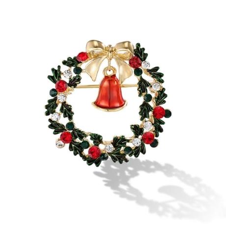Vánoční brož Swarovski Elements Guirlande Bell - vánoční věnec