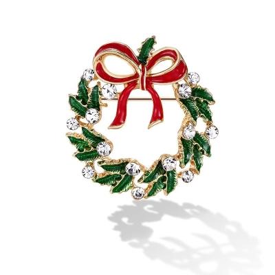 Vánoční brož se zirkony Guirlande Bell - vánoční věnec