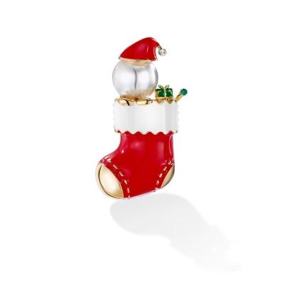 Vánoční brož se zirkony Calcetin - vánoční ponožka