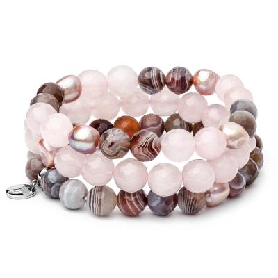 Souprava tří náramků  - sladkovodní perla, achát a růvý křemen - ocel