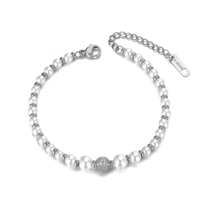 Perlový náramek se zirkony Locatelli - chirurgická ocel
