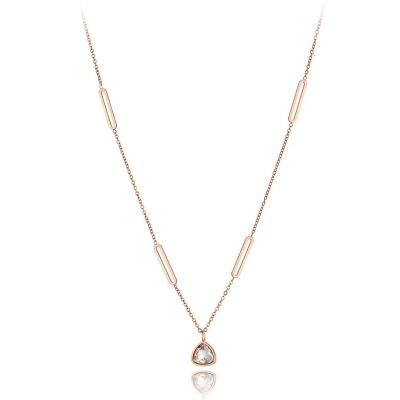 Ocelový náhrdelník se zirkonem Albina - chirurgická ocel