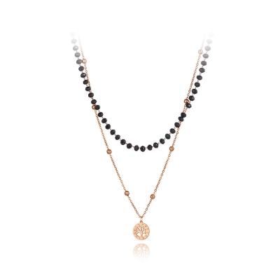 Ocelový náhrdelník se zirkonem Serena - chirurgická ocel, strom života