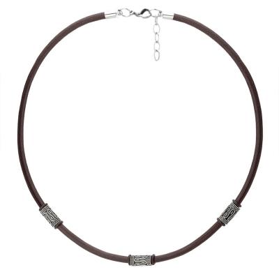 Pánský kožený náhrdelník Lucas - chirurgická ocel