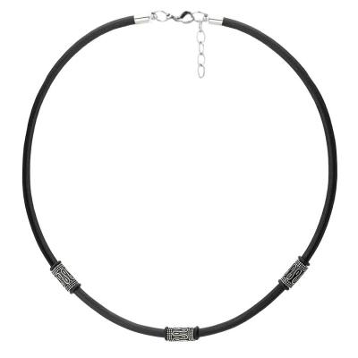 Pánský kožený náhrdelník Lucas Black - chirurgická ocel