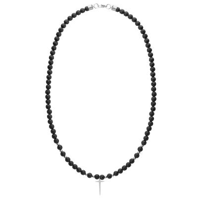 Pánský náhrdelník Noé - růženec, chirurgická ocel, kříž, lávové kameny