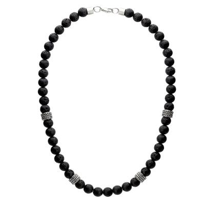Pánský korálkový náhrdelník Manuel - 8 mm lávové kameny, etno styl