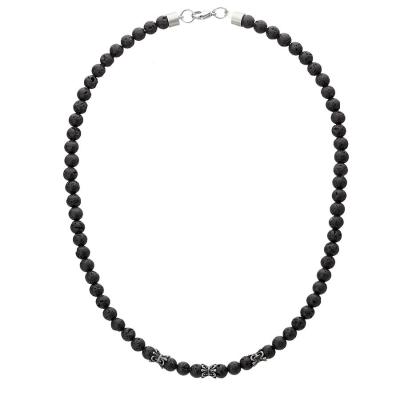 Pánský korálkový náhrdelník Luis - 6 mm lávový kámen, etno styl