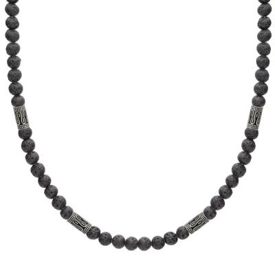 Pánský korálkový náhrdelník Claudio - 6 mm lávový kámen, etno styl