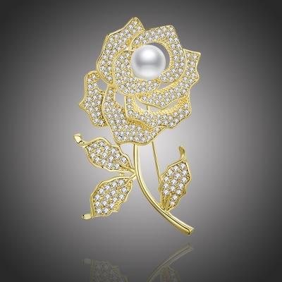 Brož s perlou a zirkony Alexa - růže