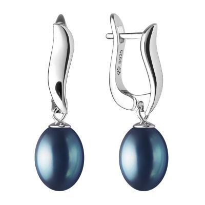 Stříbrné náušnice s černou řiční perlou Anna, stříbro 925/1000