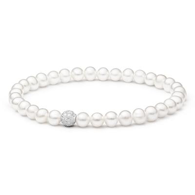 Perlový náramek se zirkony Rosie - sladkovodní perla, Ag 925/1000