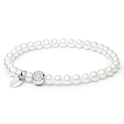Perlový náramek se zirkony Helen - sladkovodní perla, Ag 925/1000