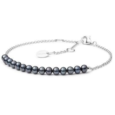 Perlový náramek Carina Black - sladkovodní perla, stříbro 925/1000