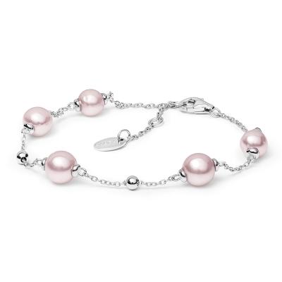 Perlový náramek Marcia Pink - sladkovodní perla, stříbro 925/1000