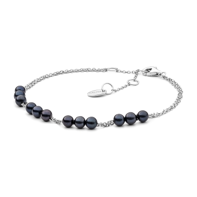 Perlový náramek Napolia Black - sladkovodní perla, stříbro 925/1000
