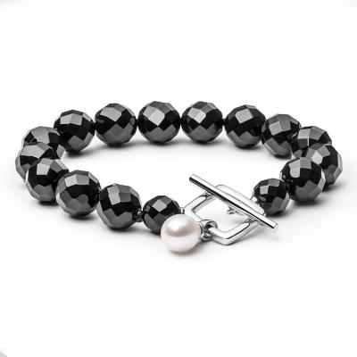 Náramek Ruzziera Black - onyx, sladkovodní perla, stříbro 925/1000