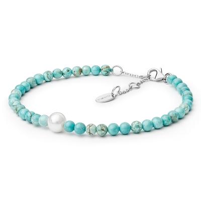 Náramek Poggia - howlit, sladkovodní perla, stříbro 925/1000