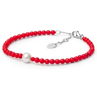 Náramek Nania - korál, sladkovodní perla, stříbro 925/1000