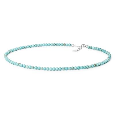 Korálkový náhrdelník Poggia - přírodní Howlit, stříbro 925/1000