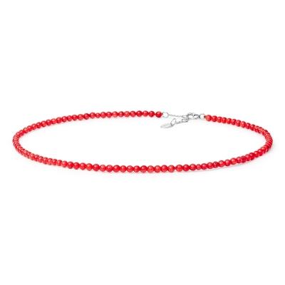 Korálový náhrdelník Nania - přírodní Korál, stříbro 925/1000