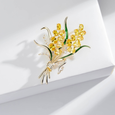 Brož Swarovski Elements krystaly Liciana - design pšenice