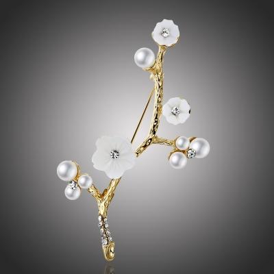 Brož s perlou a zirkony Maccia - květina