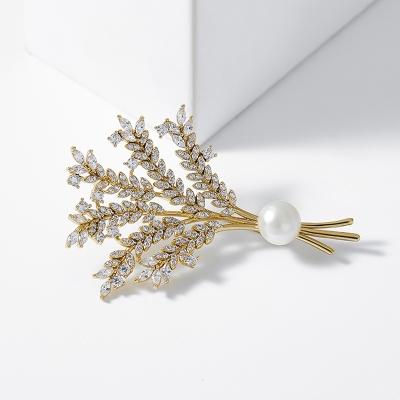Brož s perlou a zirkony Milani - květina