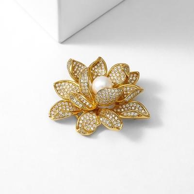 Brož s perlou a zirkony Lotus - lotosový květ