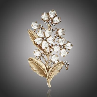 Vintage brož s perlou a zirkony Manfreda - květina