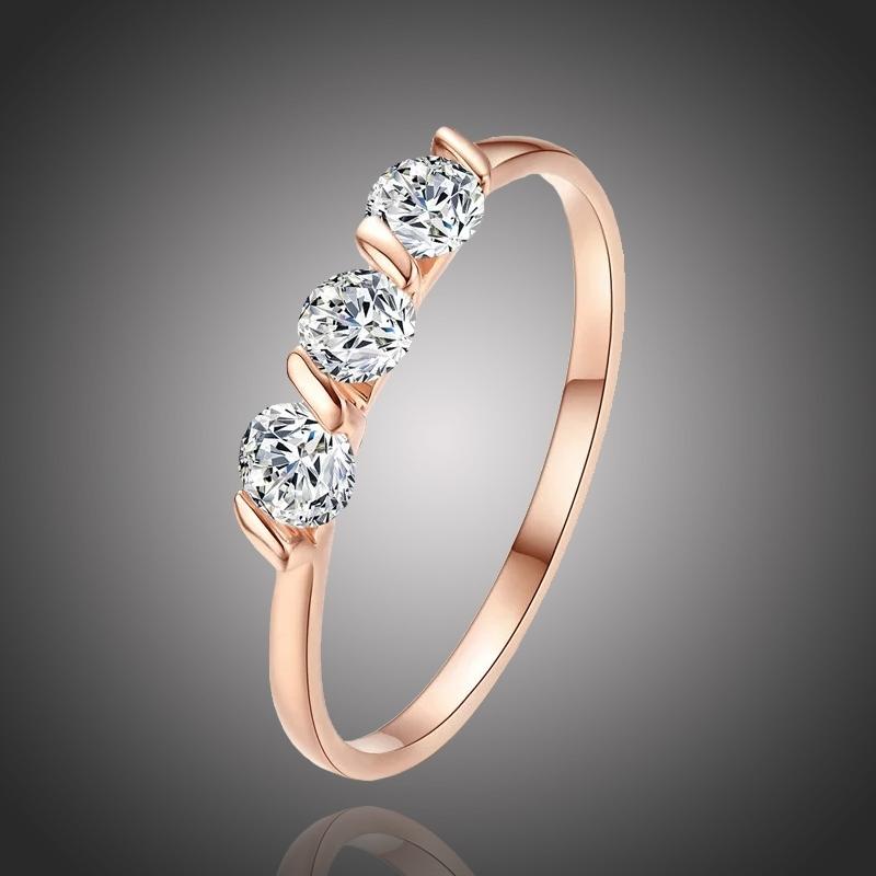 Pozlacený prsten  se zirkony Sebastiani Gold