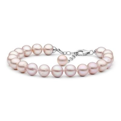 Perlový náramek Natasha - levandulová řiční perla, stříbro 925/1000