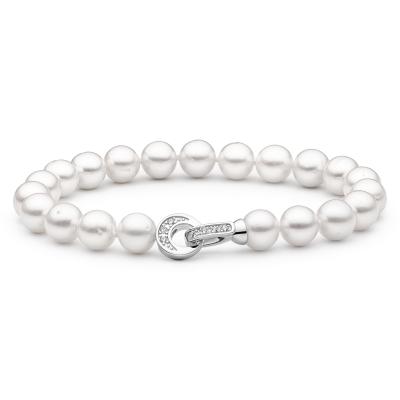 Perlový náramek Ely - řiční perla, zirkon, stříbro 925/1000