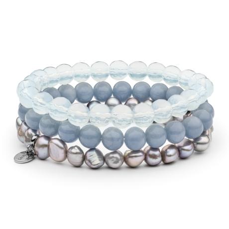 Souprava tří náramků - sladkovodní perla, angelit, opál, ocel